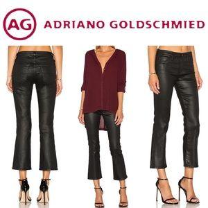 AG Jodi High-Rise Slim Flare Crop Leatherette Jean